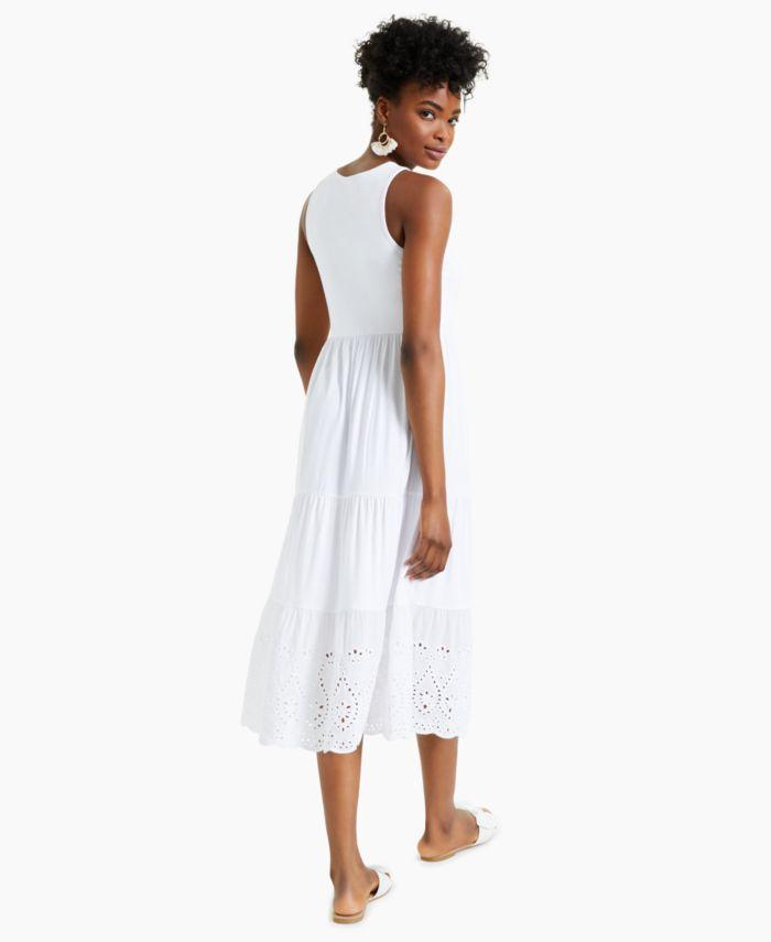 Charter Club Eyelet-Hem Midi Dress, Created for Macy's & Reviews - Dresses - Women - Macy's