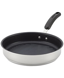 """Classic Hard-Anodized Aluminum Nonstick 10.25"""" Deep Round Grill Pan, Gray"""