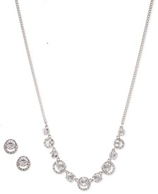 Gold-tone and Eremite Crystal Box Necklace and Earring Set