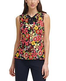 Printed Tie-Neck Top