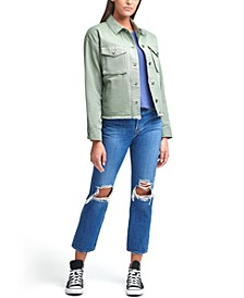 Cropped Cotton Utility Jacket