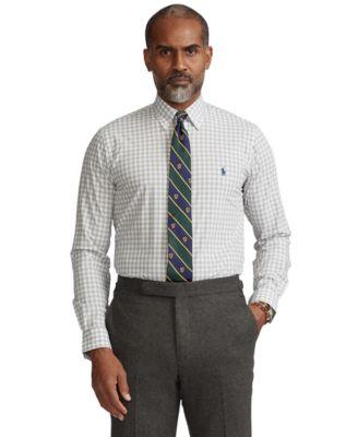 폴로 랄프로렌 Polo Ralph Lauren Mens Classic-Fit Gingham Poplin Shirt,Grey/White