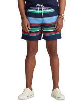 폴로 랄프로렌 Polo Ralph Lauren Mens 5.75-Inch Traveler Swim Trunks,Bermuda Multi Stripe