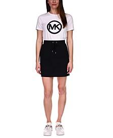 Drawstring Mini Skirt