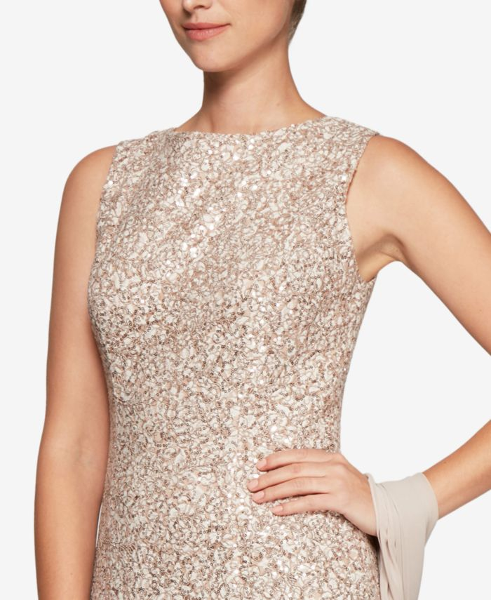 Alex Evenings Sequined Lace Gown & Shawl & Reviews - Dresses - Women - Macy's