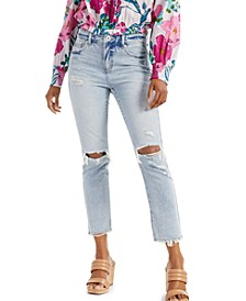 INC Petite Ripped Straight-Leg Jeans, Created for Macy's
