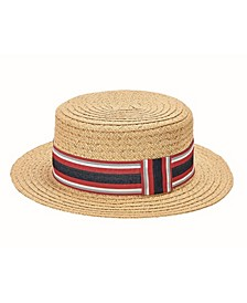 Men's Paper Braid Boater with Striped Grosgrain Knot Band Adjustable Stay-Put Closure Hat
