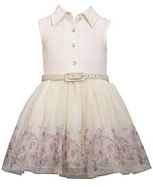 Big Girls Sleevless Foiled Shirtwaist Dress with Belt