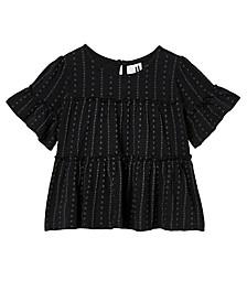 Little Girls Frida Short Sleeve Frill Top