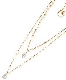 """Gold-Tone Imitation Pearl Pendant Layer Necklace, 32"""" + 2"""" extender"""