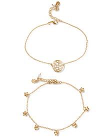 Gold-Tone 2-Pc. Set Pavé Openwork Disc & Butterfly Charm Ankle Bracelets