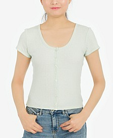 Juniors' Textured Button-Front Top