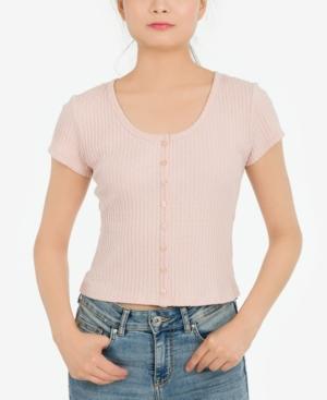 Juniors' Textured Button-Front Top