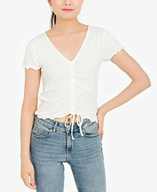 Juniors' Ruched Front Lettuce Trim Top