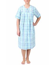 Short Sleeve Plaid Seersucker Robe