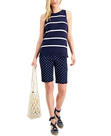Petite Sleeveless Striped Sweater, Created for Macy's