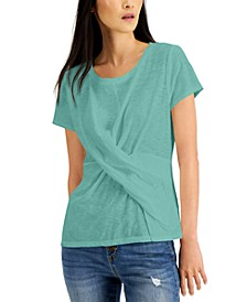 INC Cotton Twist-Front T-Shirt, Created for Macy's