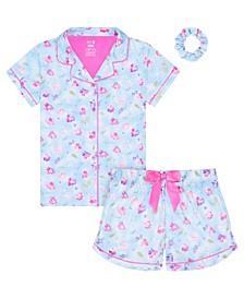 Big Girls Floral Coat 2 Piece Pajama Set with Scrunchie