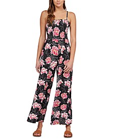 Juniors' Straight To Romantic Floral-Print Jumpsuit