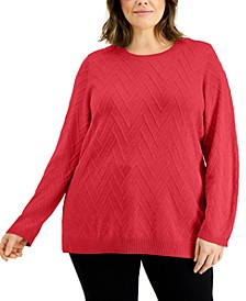 Plus Size Chevron Stitch Crew Neck