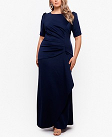 Plus Size Puff-Sleeve Crepe Gown