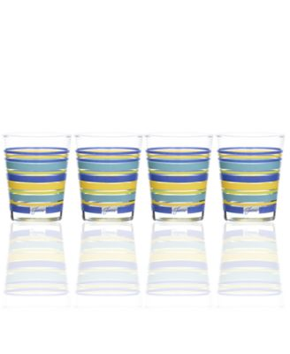 Lapis Stripe Set of 4 Double Old-Fashioned Glasses