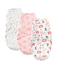 Girls Quilted Swaddle Wrap, Set of 3