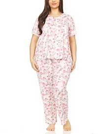 Chase Printed Plus Size Pajama Set, 2 Piece