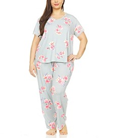 Annette Printed Plus Size Pajama Set, 2 Piece