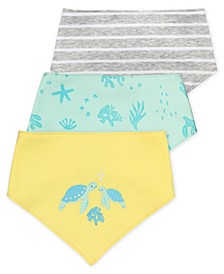 Baby Boy or Girl Bandana Bib with Pastel Turtle Prints, 3 Pack