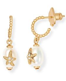 Gold-Tone Cubic Zirconia Starfish & Freshwater Pearl (7mm) Charm Hoop Earrings