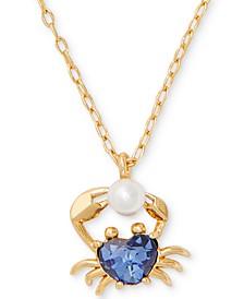 "Gold-Tone Cubic Zirconia & Imitation Pearl Heart Crab Pendant Necklace, 16"" + 3"" extender"