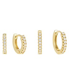 Cubic Zirconia 2Pc Mini Huggie Earring Combo Set