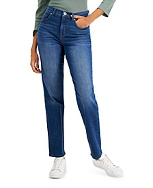 Petite High-Rise Natural Straight-Leg Jeans, Created for Macy's