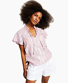 INC Metallic-Striped Blouse, Created for Macy's