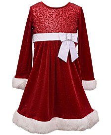 Little Girls Sparkle Stretch Velvet Dress with Sequin Bodice and Faux Fur Trim, Solid Satin Waistband and Bow