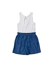 Big Girls Lace Up Chambray Romper