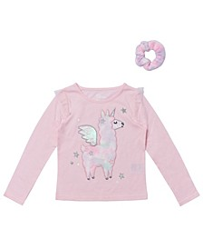 Toddler Girls Long Sleeve Graphic Tee with Match Back Scrunchie