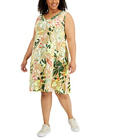 Plus Size Printed Crisscross-Back Dress, Created for Macy's