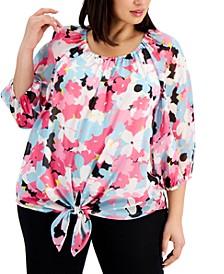 Plus Size Floral-Print Tie-Front Top
