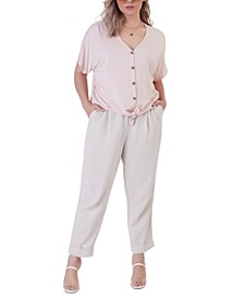 Plus Size Elastic-Back Cuffed Linen Pants