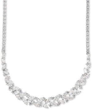 """Cubic Zirconia 18"""" Statement Necklace in Sterling Silver"""