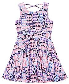 Big Girls Short Sleeve All Over Print Skater Dress