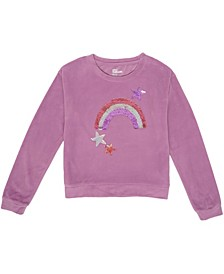 Big Girls Flip Sequin Graphic Velour Sweatshirt