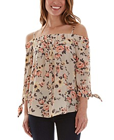 Juniors' Floral-Print Cold-Shoulder Top
