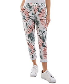 Juniors' Tie-Dyed French Terry Jogger Pants