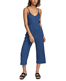 Juniors' Ribbed-Knit Cropped Jumpsuit