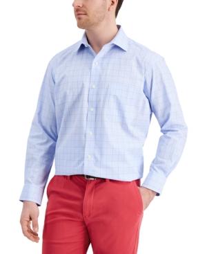 Men's Classic/Regular Fit Stretch Small Glen Plaid Dress Shirt