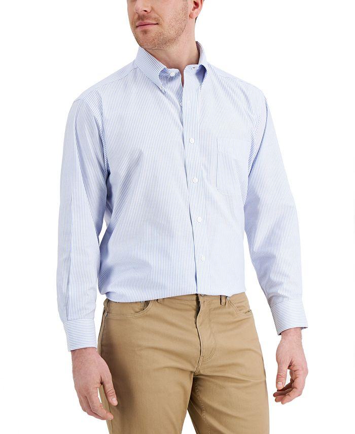 Club Room - Men's Classic/Regular Fit Stretch Wrinkle-Resistant University Stripe Dress Shirt