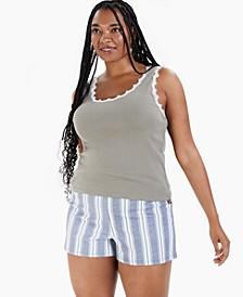 Trendy Plus Size Lace-Trim Cotton Tank Top